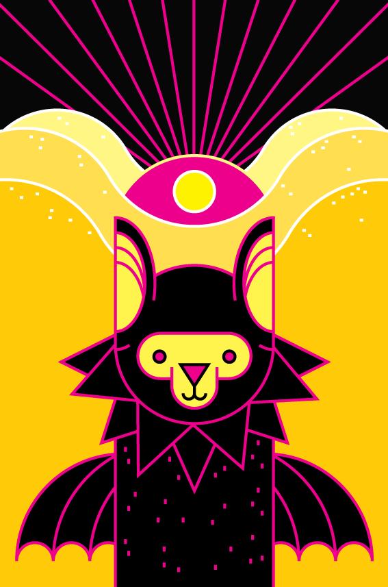 bat illuminati desert mistery arcane symbolism vector art illustration graphics design digital minimal design graphic design illustrator grafica denis bettio