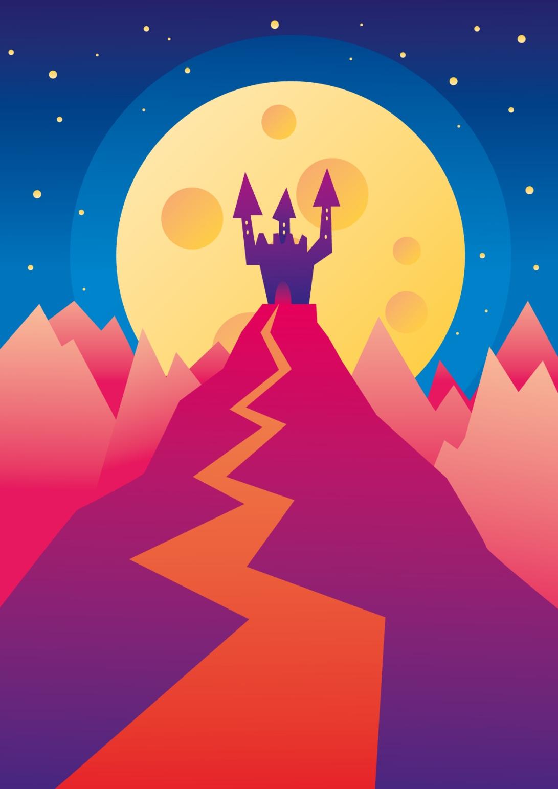 castle hill landscape moon dreamy mistery vector art illustration graphics design digital minimal design graphic design illustrator grafica denis bettio