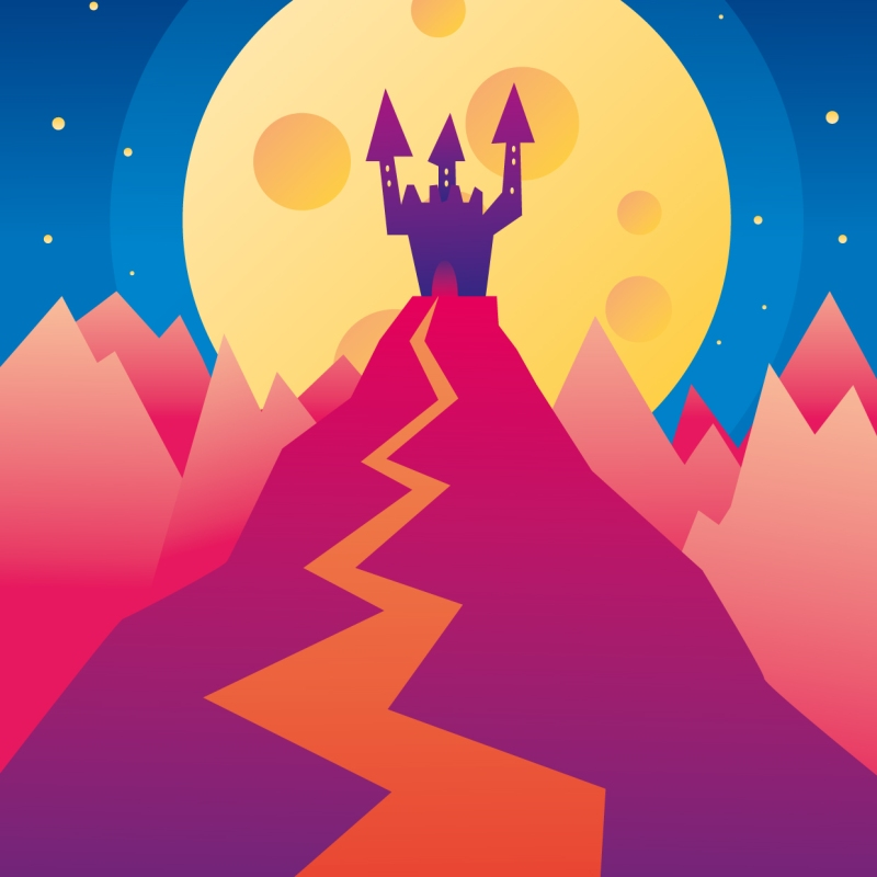 castle hill landscape moon dreamy mistery vector art illustration graphics design digital minimal design graphic design illustrator grafica denis bettio