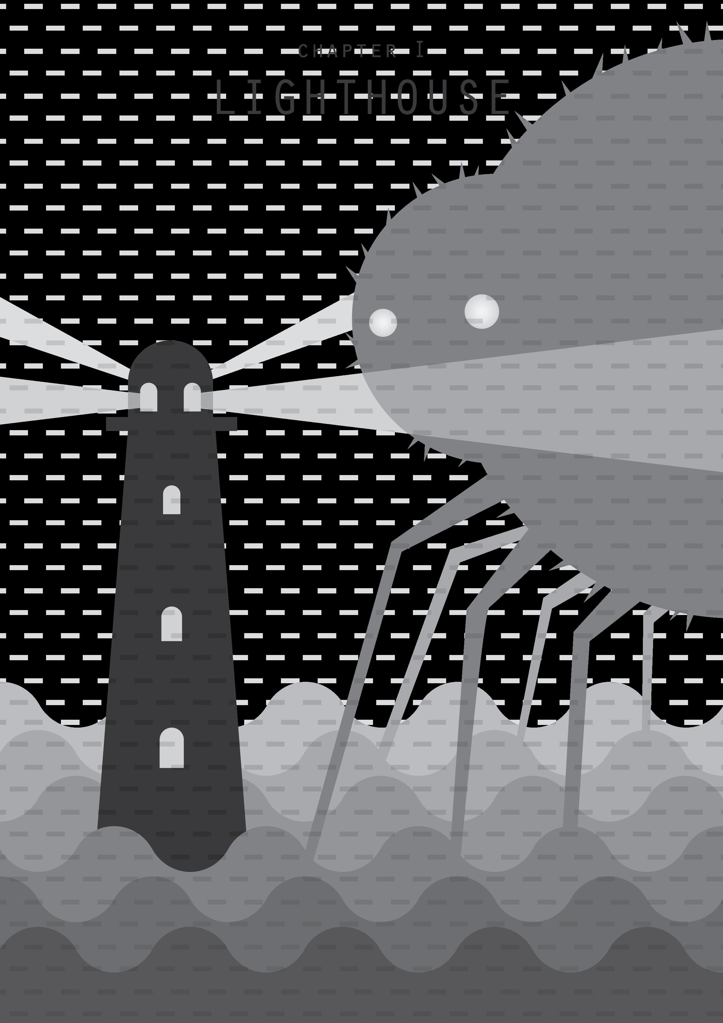 spider lighthouse book chapter cover art fog mist vector art illustration graphics design digital minimal design graphic design illustrator grafica denis bettio