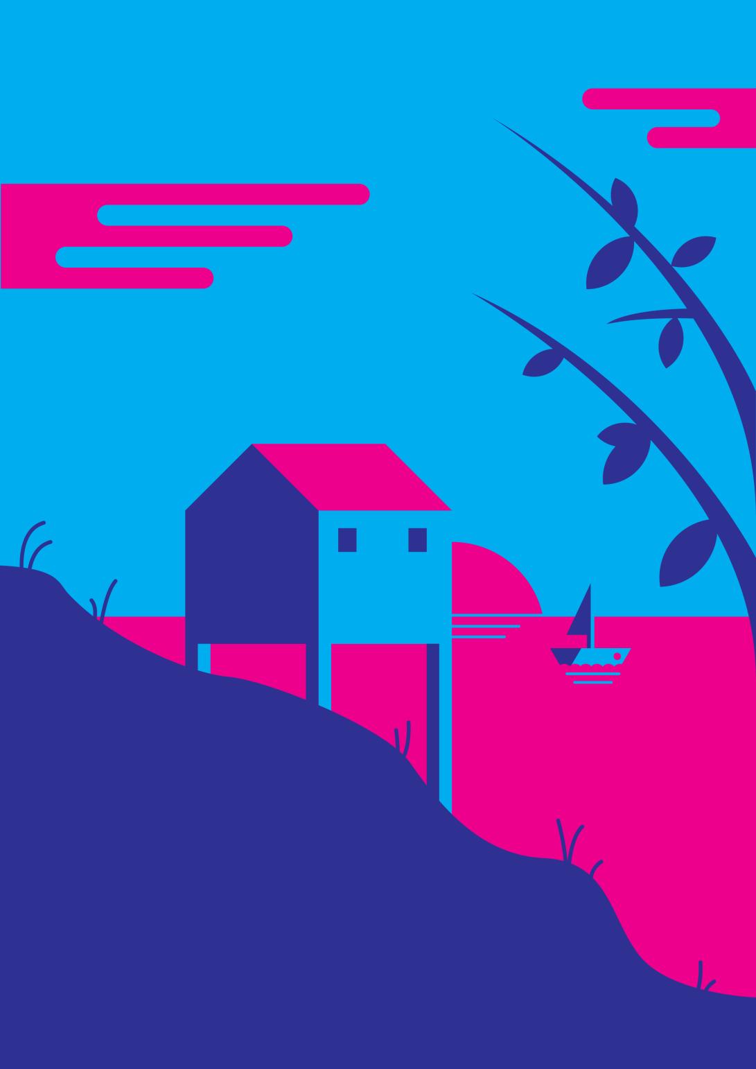 house sea sunset boat hill harbor vector art illustration graphics design digital minimal design graphic design illustrator grafica denis bettio