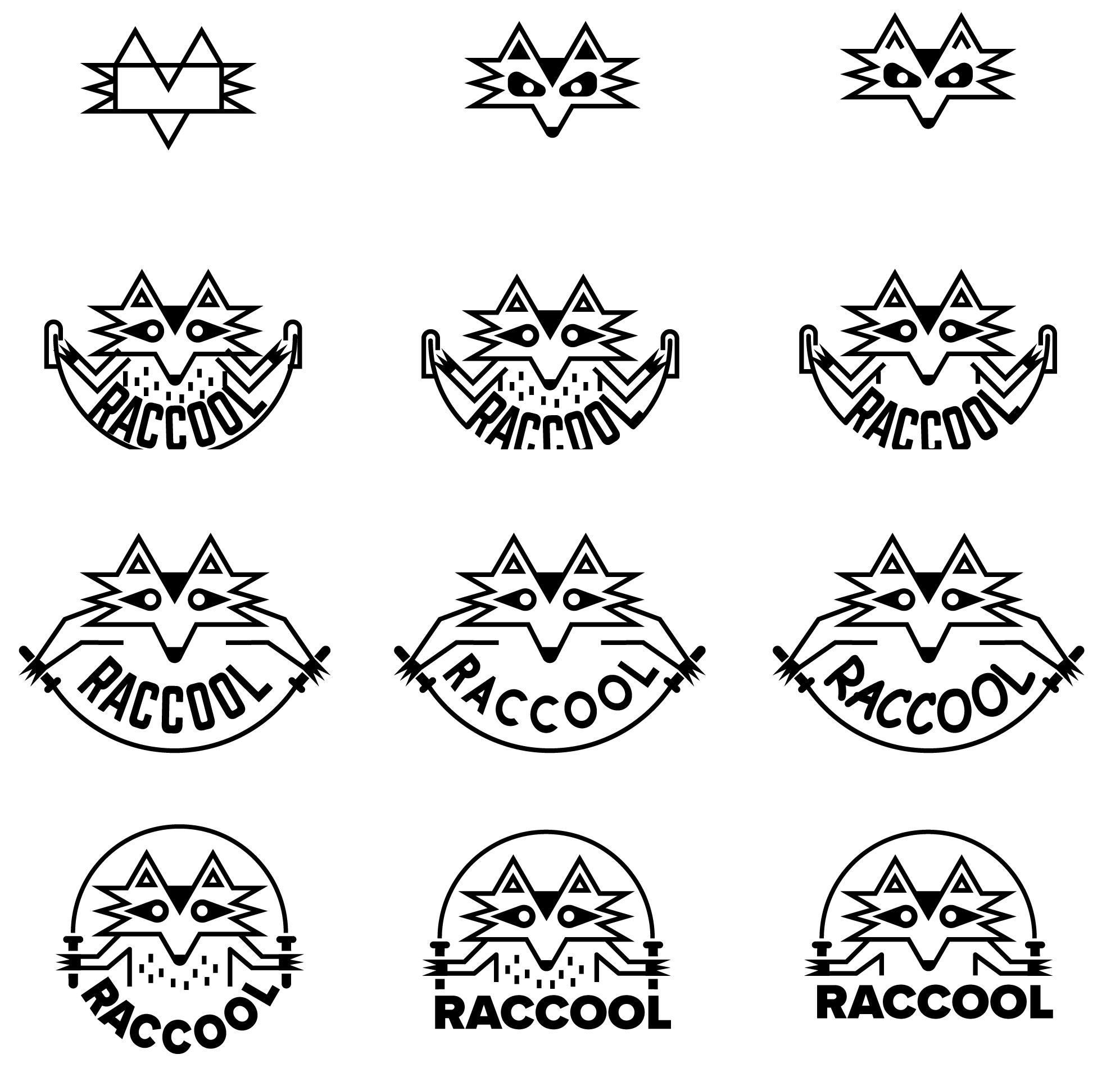 raccool logo design raccoon fitnes jumping ropes vector art illustration graphics design digital minimal design graphic design illustrator grafica denis bettio