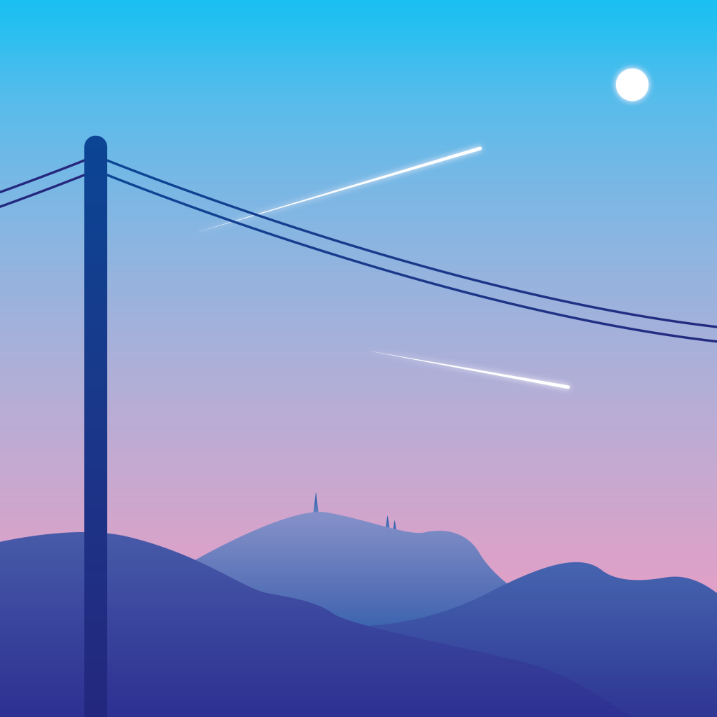 chemrails sunset pole electricity wires airplanes vector art illustration graphics design digital minimal design graphic design illustrator grafica denis bettio