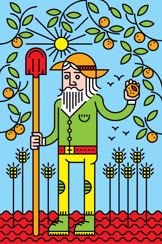 farmer line orange fields cropping crop harvest wheat vector art illustration graphics design digital minimal design graphic design illustrator grafica denis bettio