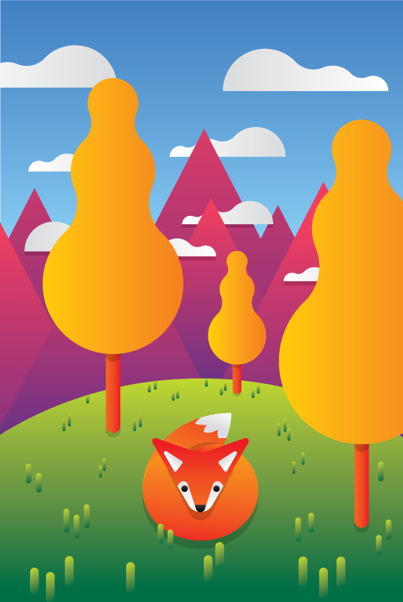 fox woods nature hills mountains wild animal vector art illustration graphics design digital minimal design graphic design illustrator grafica denis bettio
