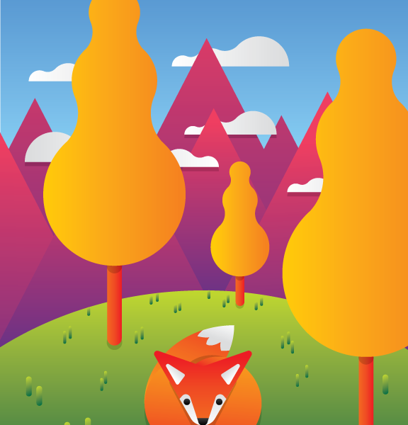 fox woods nature hills mountains wild animal vector art illustration graphics design digital minimal design graphic design illustrator grafica denis bettio