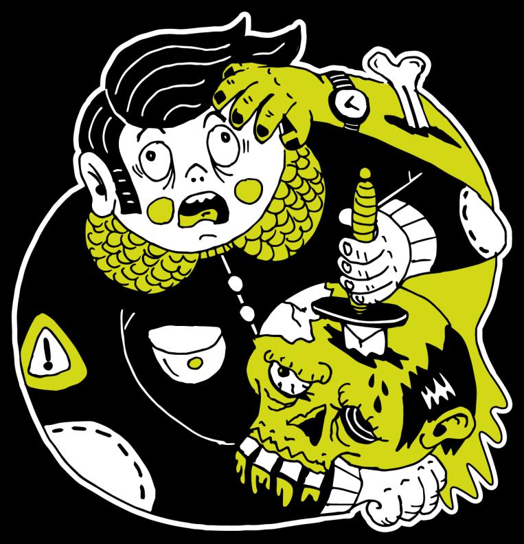 illustration zombie graphic design lahar magazine zombie horror punk rockabilly