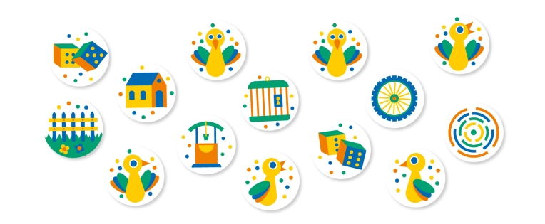 goose game icons vector minimal illustrator dices cage well symbols